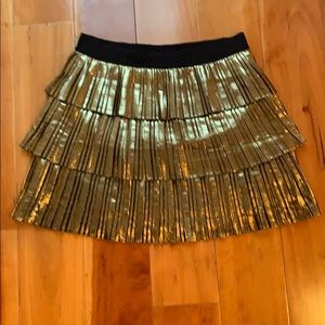BCBC gold lamé ruffle skirt